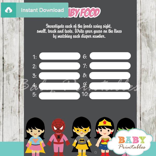 printable girl superhero baby shower games blind tasting baby food