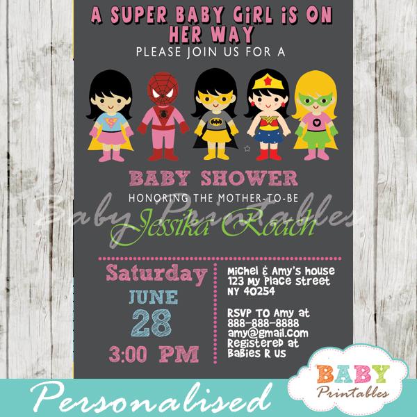 printable superhero girls baby shower invitation personalized