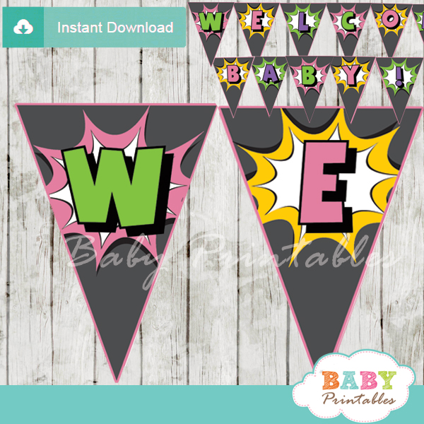 girl printable comic superhero welcome banner decoration personalized