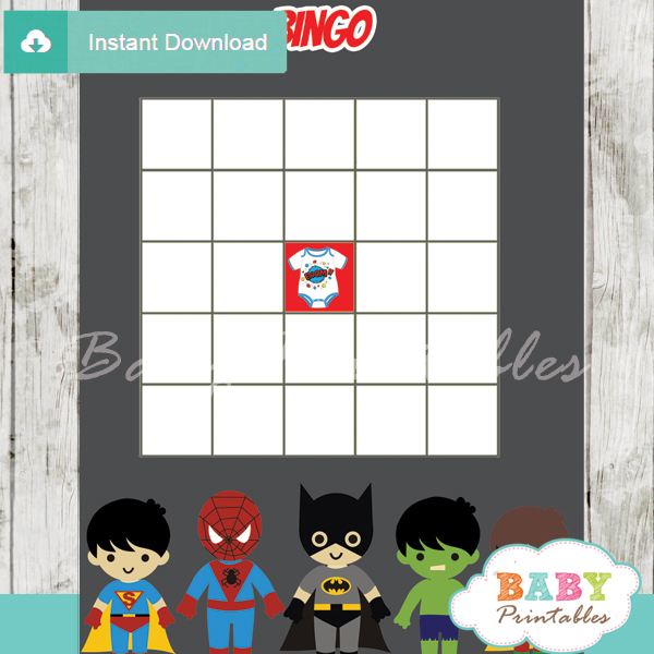 boy superhero printable baby shower bingo game cards