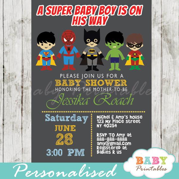 printable superhero baby boys shower invitation personalized