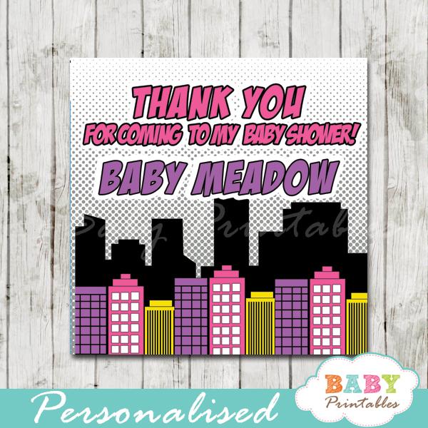 printable comic book superhero baby girls favor gift tags