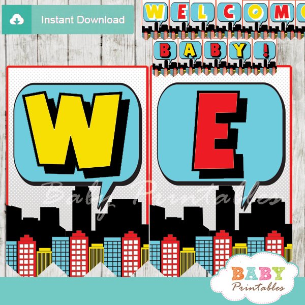 Baby Boy Comic Book Baby Shower Banner U2013 D215