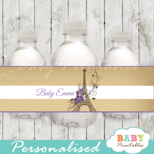 printable french paris eiffel tower personalized bottle wrappers diy