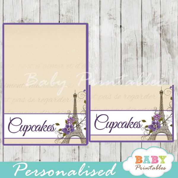 printable french paris eiffel tower personalized food label cards  sc 1 st  Baby Printables & Purple Floral Eiffel Tower Personalized Food Tents - D220 - Baby ...