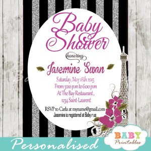 black silver glitter stripes printable Paris Eiffel tower baby shower invitation personalized