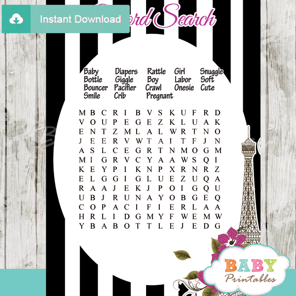 paris eiffel tower baby shower word search game printable puzzles