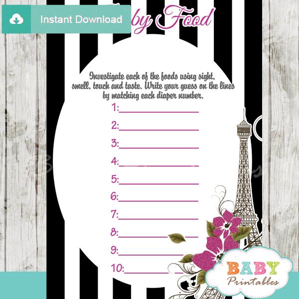 black white stripes paris eiffel tower printable baby shower games blind tasting baby food