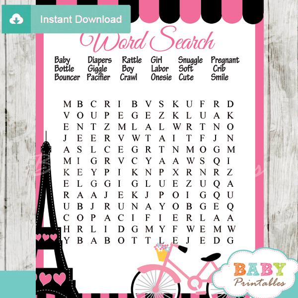 Pink Paris Eiffel Tower Baby Shower Games D222 Baby