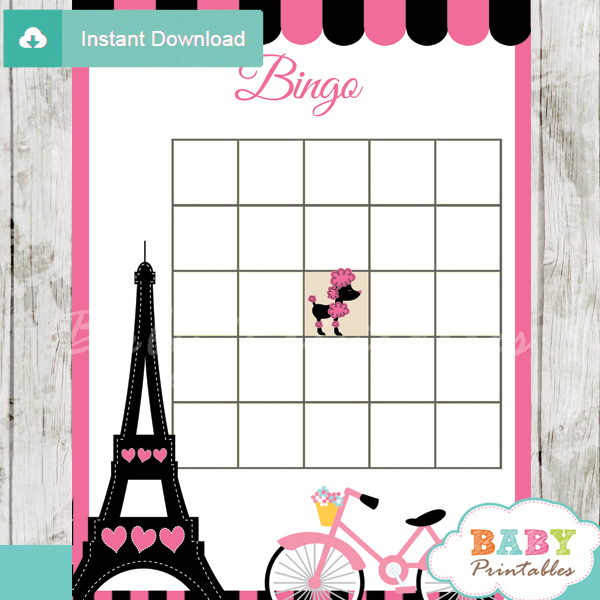 Pink Paris Eiffel Tower Baby Shower Games - D222 - Baby Printables