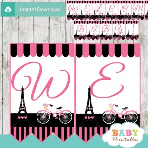 printable french bicyle pink paris eiffel tower welcome banner decoration personalized