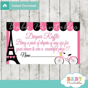printable french bicycle pink paris eiffel tower vintage diaper raffle game cards baby shower