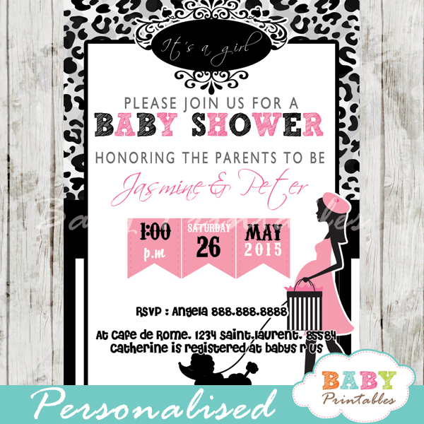 printable leopard print Paris poodle baby shower invitation personalized