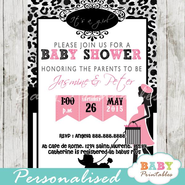 printable leopard print Paris poodle baby shower invitation personalized