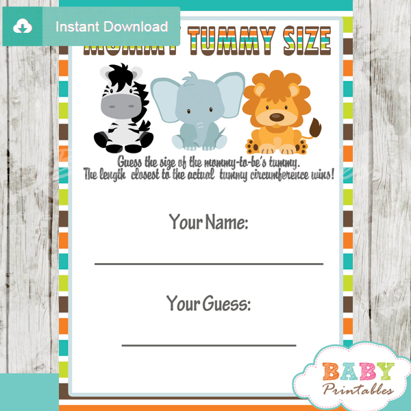 baby shower safari games guess mommy tummy size