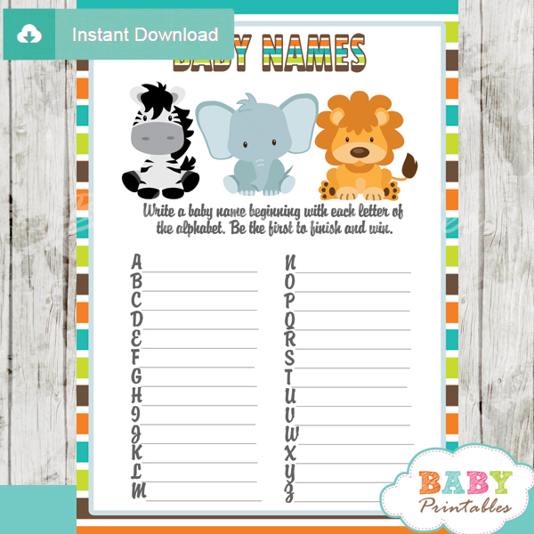 baby shower safari games baby names race