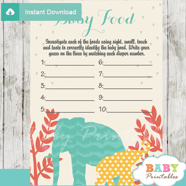 baby shower safari games blind tasting baby food