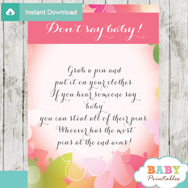 spring butterflies Dont Say Baby shower games for large groups