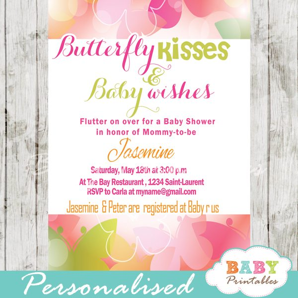 Erfly Baby Shower Invitation D236