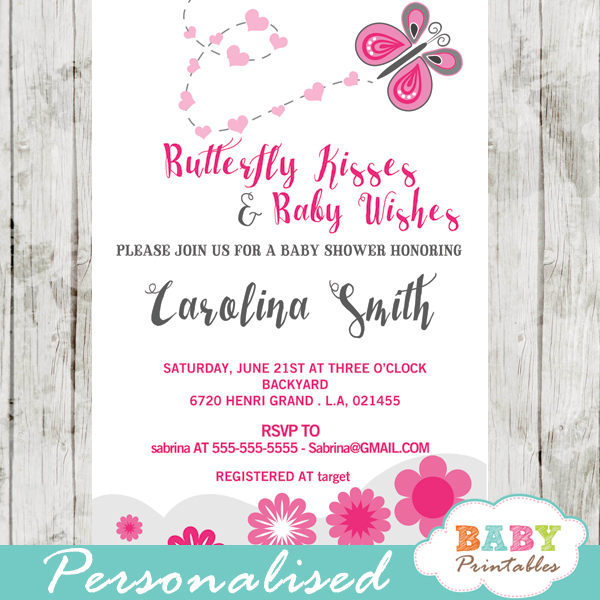 Butterfly Baby Shower Invites: Pink Butterfly Baby Shower Invitation