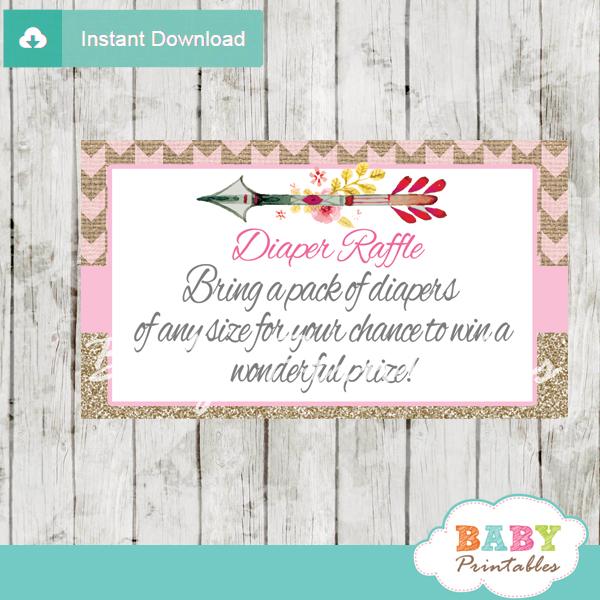 burlap pink tribal arrow diaper game raffle tickets