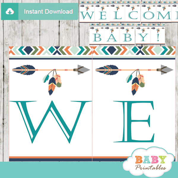 Tribal Baby Shower Banner for Boys, Boho Arrow - D242 - Baby ...