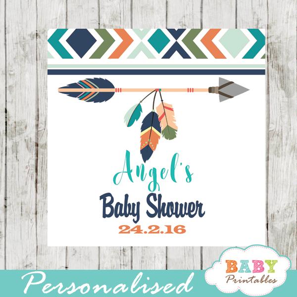 burlap pink tribal arrow printable baby shower gift tags