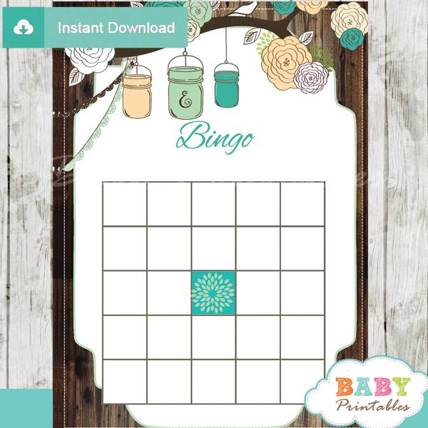 baby shower mason jar games bingo