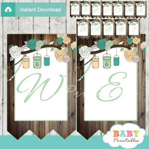 rustic country personalized mason jars banner