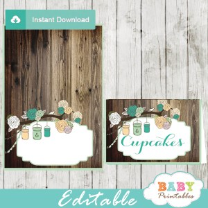 rustic country mason jar baby shower food labels