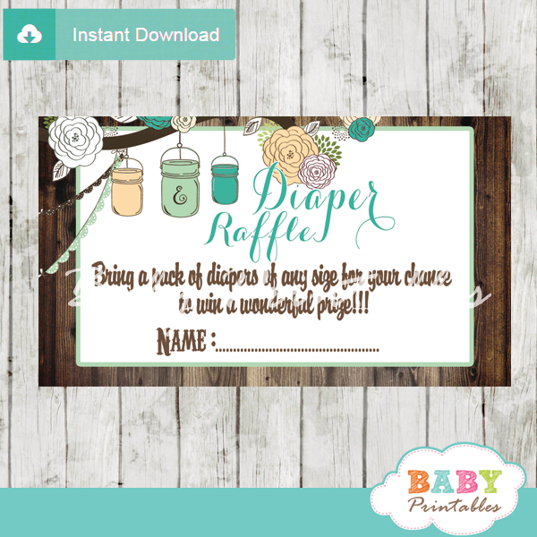 blue country rustic mason jar diaper raffle tickets