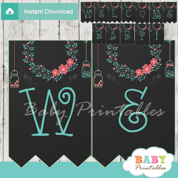 floral personalized mason jars banner