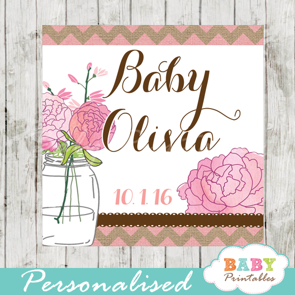 pink burlap floral mason jar custom baby shower labels