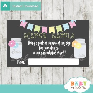 bunting floral mason jar diaper raffle tickets