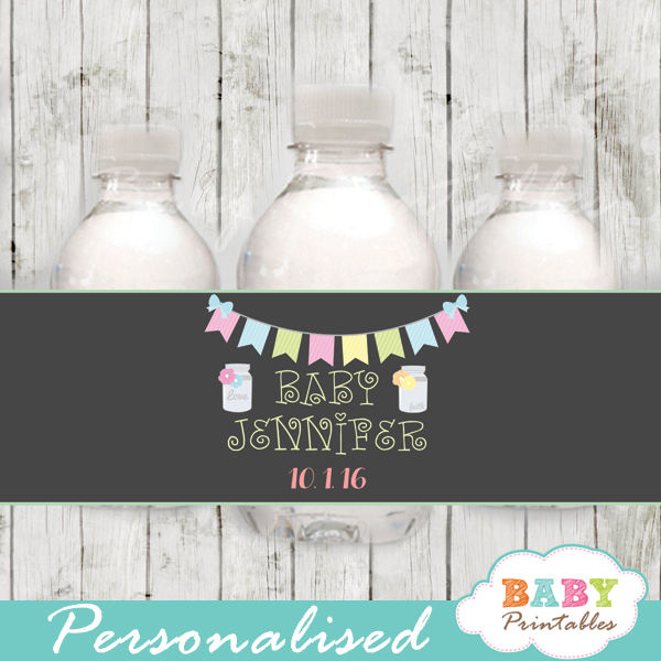 chalkboard bunting floral custom mason jar water bottle labels