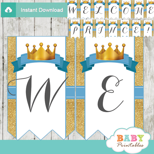 Blue and Gold Royal Prince Baby Shower Banner - D270 ...