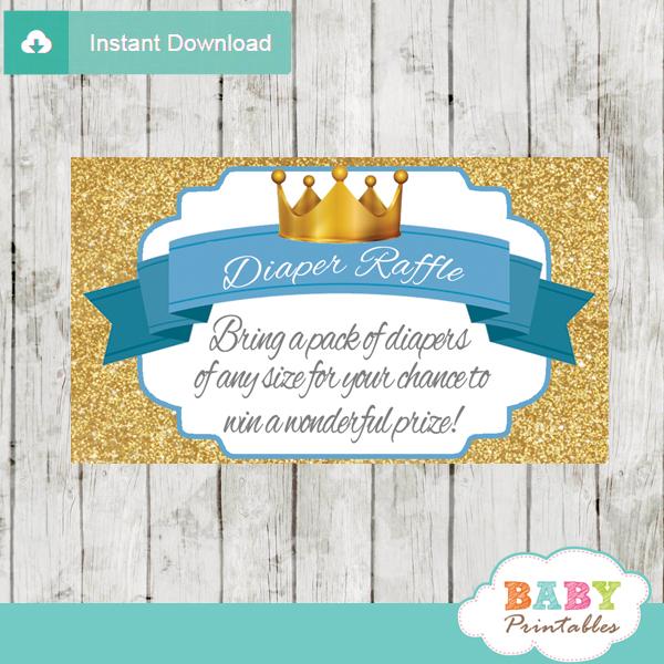 blue gold royal prince diaper raffle tickets