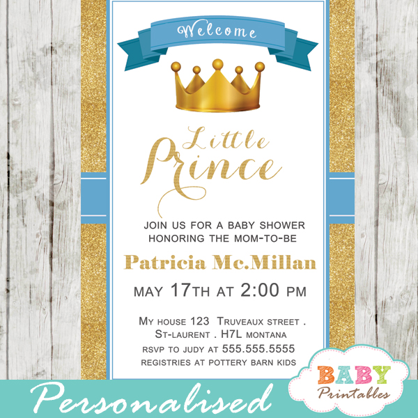 Blue And Gold Royal Prince Baby Shower