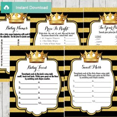 black gold royal themed games to play at a baby shower