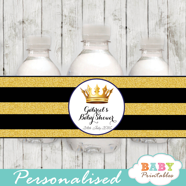 royal baby boy prince baby shower water bottle labels