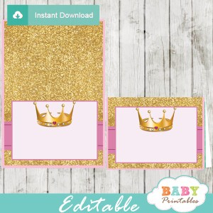 pink and gold crown princess baby shower food labels