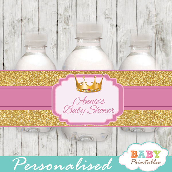 royal baby girl princess personalized baby shower water bottle labels