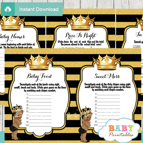 African American Black And Gold Prince Baby Shower Games D274