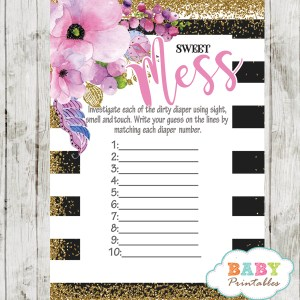 watercolor pink floral baby shower games black white stripes spring garden theme