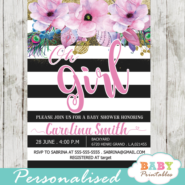 floral themes spring baby shower invitations pink flowers black and white striped