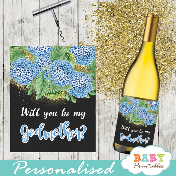 spring garden watercolor blue hydrangea floral spring square gift tags custom wine labels gold glitter