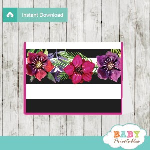 fuchsia floral baby shower food labels