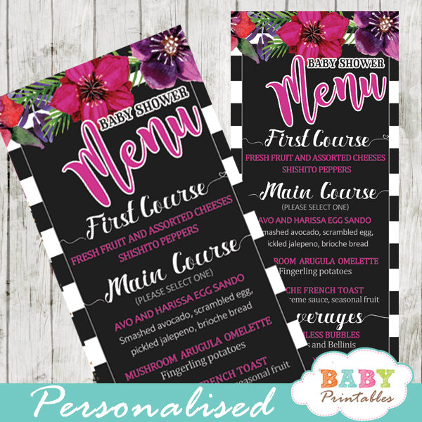 fuchsia floral baby shower menu cards black and white striped gold glitter food ideas cards template