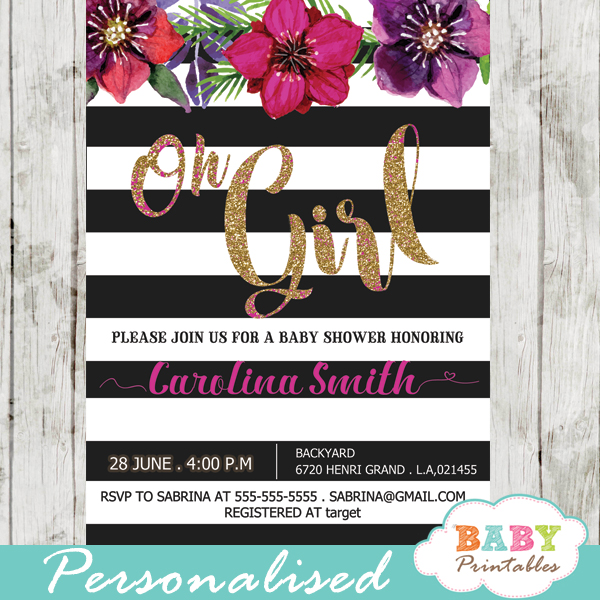 fuchsia floral baby shower invitations spring flowers black and white striped