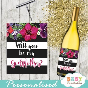 watercolor fuchsia floral spring square gift tags custom wine labels